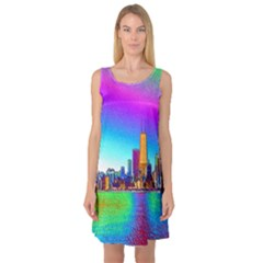 Chicago Colored Foil Effects Sleeveless Satin Nightdresses