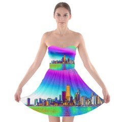 Chicago Colored Foil Effects Strapless Bra Top Dress