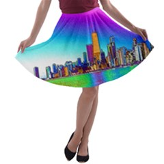 Chicago Colored Foil Effects A-line Skater Skirt