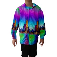 Chicago Colored Foil Effects Hooded Wind Breaker (Kids)