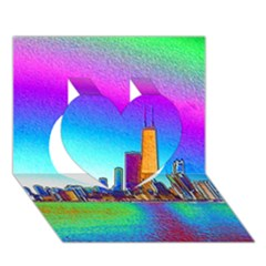 Chicago Colored Foil Effects Heart 3D Greeting Card (7x5)