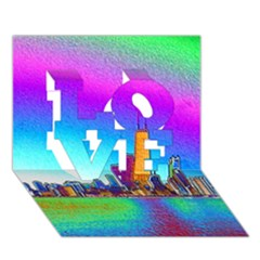 Chicago Colored Foil Effects Love 3d Greeting Card (7x5)
