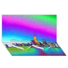 Chicago Colored Foil Effects Twin Heart Bottom 3D Greeting Card (8x4)