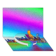 Chicago Colored Foil Effects Circle Bottom 3d Greeting Card (7x5)