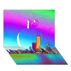 Chicago Colored Foil Effects Apple 3d Greeting Card (7x5)