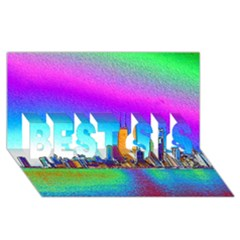 Chicago Colored Foil Effects Best Sis 3d Greeting Card (8x4)