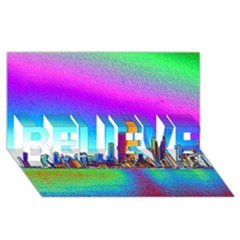 Chicago Colored Foil Effects BELIEVE 3D Greeting Card (8x4)