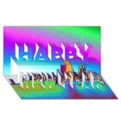 Chicago Colored Foil Effects Happy New Year 3D Greeting Card (8x4)