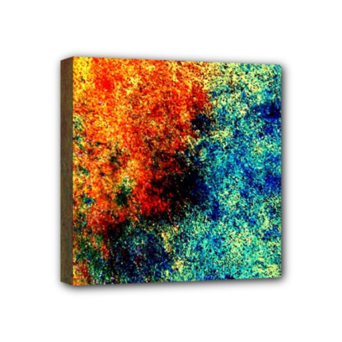 Orange Blue Background Mini Canvas 4  x 4