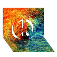 Orange Blue Background Peace Sign 3D Greeting Card (7x5)