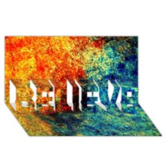 Orange Blue Background Believe 3d Greeting Card (8x4)