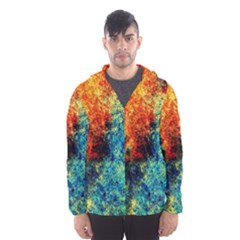 Orange Blue Background Hooded Wind Breaker (Men)