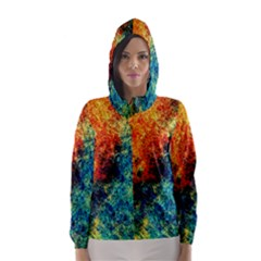 Orange Blue Background Hooded Wind Breaker (Women)