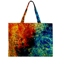 Orange Blue Background Zipper Tiny Tote Bags