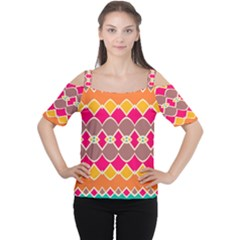 Symmetric shapes in retro colors Women s Cutout Shoulder Tee