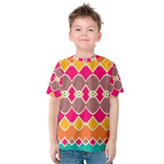 Symmetric shapes in retro colors Kid s Cotton Tee