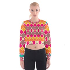Symmetric Shapes In Retro Colors   Women s Cropped Sweatshirt