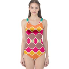 Symmetric Shapes In Retro Colors Women s One Piece Swimsuit
