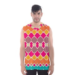 Symmetric Shapes In Retro Colors Men s Basketball Tank Top