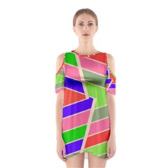 Symmetric distorted rectangles Women s Cutout Shoulder Dress