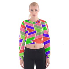 Symmetric distorted rectangles   Women s Cropped Sweatshirt