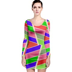 Symmetric distorted rectangles Long Sleeve Bodycon Dress