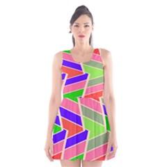 Symmetric Distorted Rectangles Scoop Neck Skater Dress