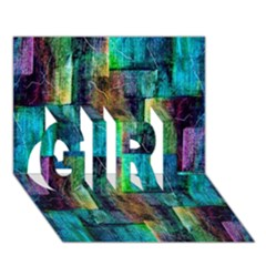 Abstract Square Wall Girl 3d Greeting Card (7x5)