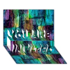 Abstract Square Wall YOU ARE INVITED 3D Greeting Card (7x5)