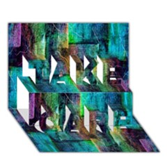 Abstract Square Wall Take Care 3d Greeting Card (7x5)