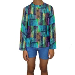 Abstract Square Wall Kid s Long Sleeve Swimwear