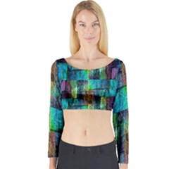 Abstract Square Wall Long Sleeve Crop Top