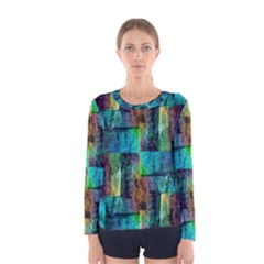 Abstract Square Wall Women s Long Sleeve T Shirts