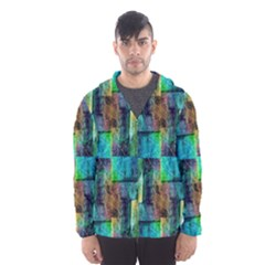 Abstract Square Wall Hooded Wind Breaker (Men)