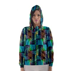 Abstract Square Wall Hooded Wind Breaker (Women)
