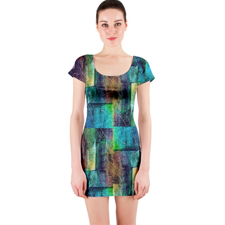 Abstract Square Wall Short Sleeve Bodycon Dresses