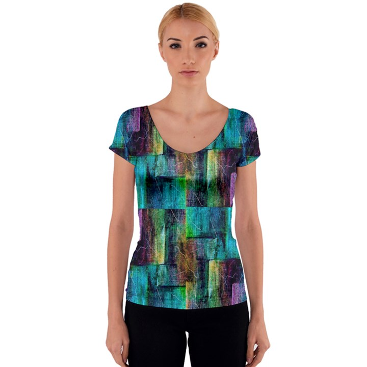 Abstract Square Wall Women s V-Neck Cap Sleeve Top