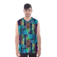 Abstract Square Wall Men s Basketball Tank Top