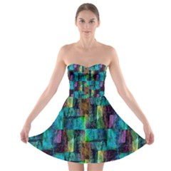 Abstract Square Wall Strapless Bra Top Dress