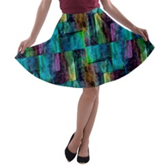 Abstract Square Wall A-line Skater Skirt