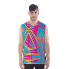Distorted Shapes Men s Basketball Tank Top
