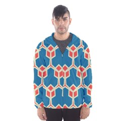 Orange shapes on a blue background Mesh Lined Wind Breaker (Men)