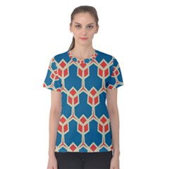 Orange Shapes On A Blue Background Women s Cotton Tee