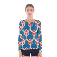Orange shapes on a blue background Women Long Sleeve T-shirt