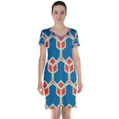 Orange shapes on a blue background Short Sleeve Nightdress