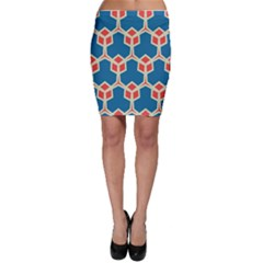 Orange shapes on a blue background Bodycon Skirt