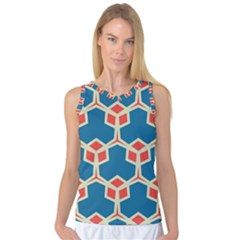 Orange Shapes On A Blue Background Women s Basketball Tank Top