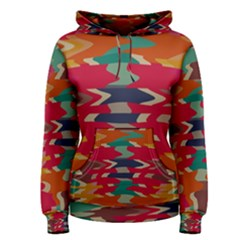 Retro Colors Distorted Shapes Women s Pullover Hoodie