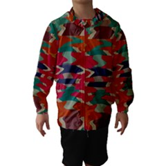 Retro colors distorted shapes Hooded Wind Breaker (Kids)