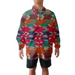 Retro Colors Distorted Shapes Wind Breaker (kids)